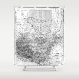 Vintage Map of Guatemala (1902) BW Shower Curtain