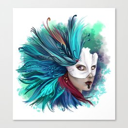 Feathers Mask Canvas Print