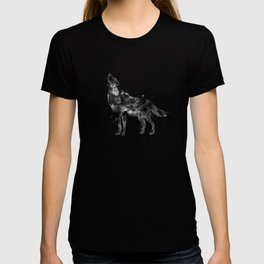 Watercolor Wolf - Black T-shirt