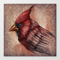 cardinal Canvas Prints featuring Cardinal by Werk of Art