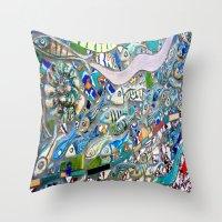 bathroom Throw Pillows featuring Venice Beach Bathroom Art by Kim Ramage