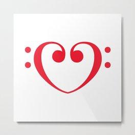 Bass Clef Heart Metal Print