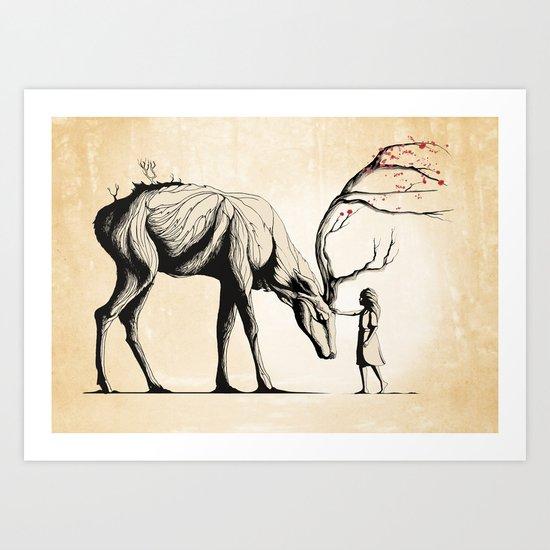 Knowing the Deer Tree Art Print