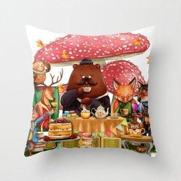 Autumn tea party #3 Throw Pillow