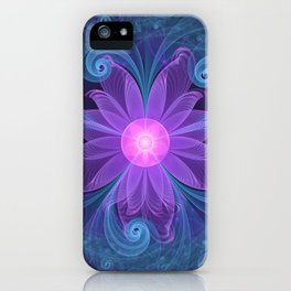 Blown Glass Flower of an ElectricBlue Fractal Iris iPhone Case