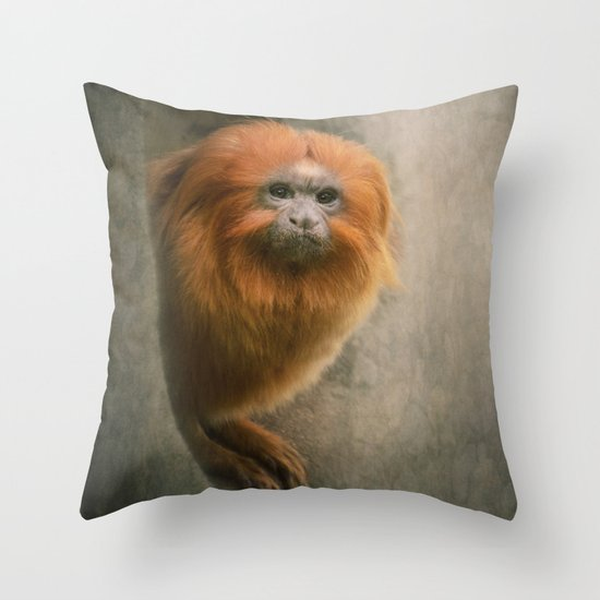 Little Golden Headed Lion Tamarin Throw Pillow