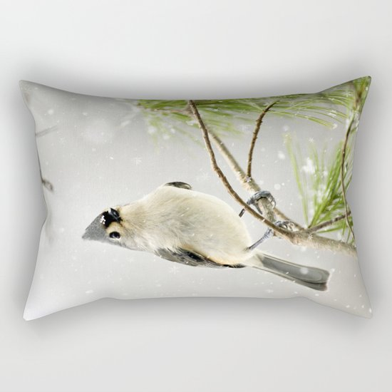 Snowy Songbird Rectangular Pillow