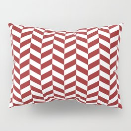 Sangria Red Herringbone Pattern Pillow Sham