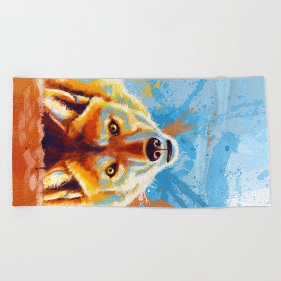 Hey! - Wolf portrait Beach Towel