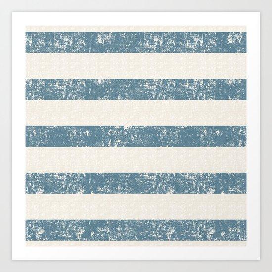 Maritime Beach Pattern- Blue and White Stripes- Horizontal- Art Print