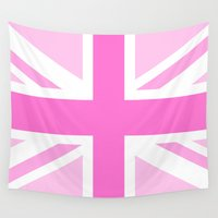 union jack Wall Tapestries featuring Pink Union Jack by Alesia D