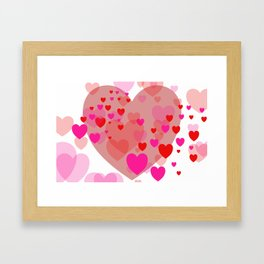 Flying pink red Hearts Framed Art Print