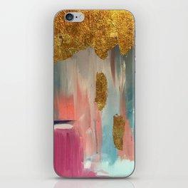 Gold Leaf & Indigo Blue Abstract iPhone Skin