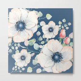Summer Flowers Blue #society6 #buyart Metal Print