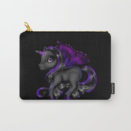 Black unicorn girl with wings and rainbow hair Carry-All Pouch
