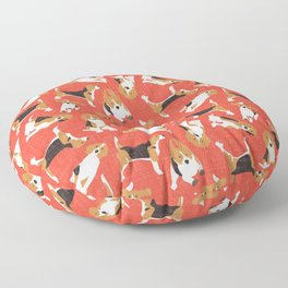 beagle scatter coral red Floor Pillow