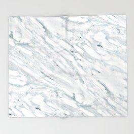 Real Marble Pattern - Swirly White and Gray Marble Throw Blanket