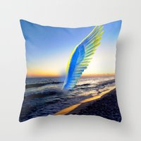 angel Throw Pillows featuring Angel  by Saundra Myles