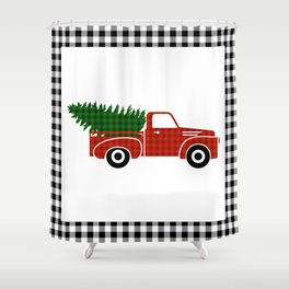 Black and White Buffalo Check Gingham Plaid framed Christmas Truck with Tree Shower Curtain