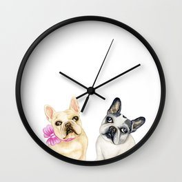 French Bulldogs adorable head tilt fawn and black and white frenchies must have gift for pet lovers Wall Clock