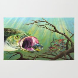 Large Mouth Bass and Clueless Blue Gill Fish Rug