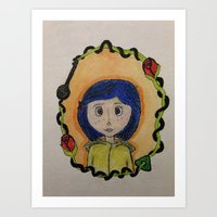 coraline Art Prints featuring Coraline by Brittsa Me