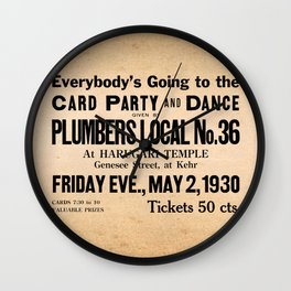 Party at the Plumbers Local No. 36 Wall Clock