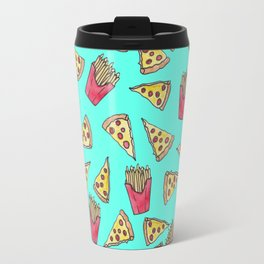Pepperoni Pizza French Fries Foodie Watercolor Pattern Travel Mug