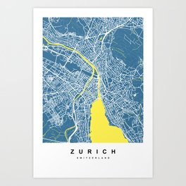 Zurich - Switzerland | Blue & Yellow Color Art Print