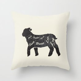 Lamb Butcher Diagram-Sheep Throw Pillow