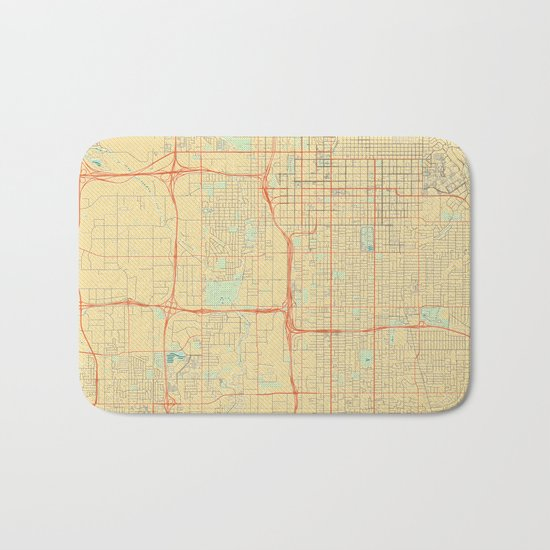 Salt Lake City Map Retro Bath Mat
