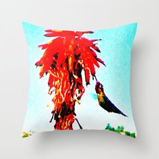 Stickybeaking Hummingbird Throw Pillow