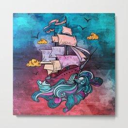 Fantasy Pastel Ship Metal Print