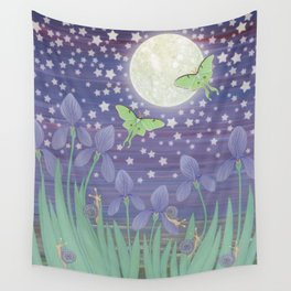 Moonlit stars, luna moths, snails, & irises Wall Tapestry