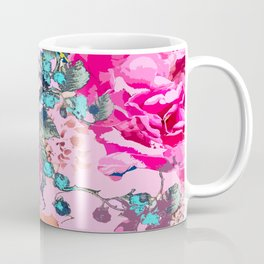 Pink floral work with some turquoise and yellow details Coffee Mug