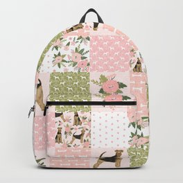 Airedale Terrier Cheater Quilt -  patchwork, airedale, dog, blanket, cute design Backpack