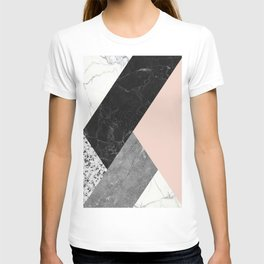 Black and White Marbles and Pantone Pale Dogwood Color T-shirt