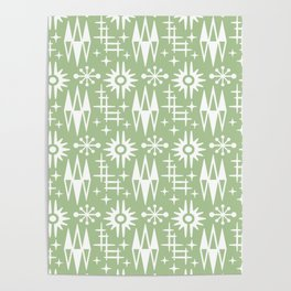 Mid Century Modern Atomic Space Age Pattern Nile Green Poster