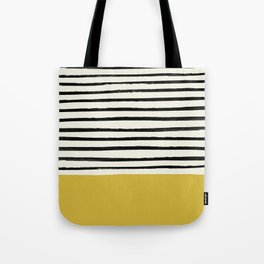 Mustard Yellow & Stripes Tote Bag