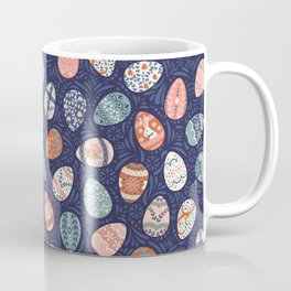 Ornate Easter Eggs on Blue Coffee Mug