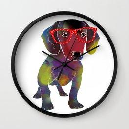 hipster dachshund Wall Clock