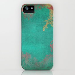 Grunge Garden Canvas Texture:  Pink and Turquoise Floral iPhone Case