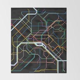 Paris Subway Map Throw Blanket