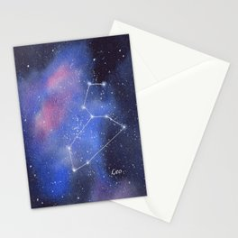 Leo Star Constellation with Galaxy Background Stationery Cards