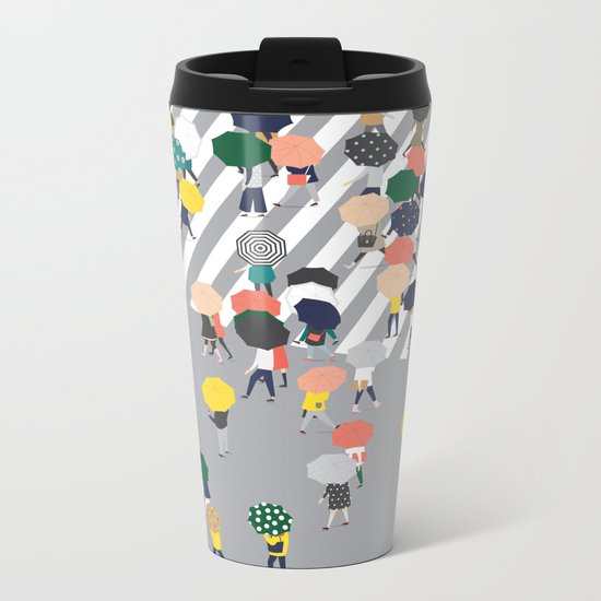 Crossing The Street on a Rainy Day - Grey Metal Travel Mug