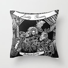 Luddy Mussy/ bull goose looney album cover black and white Throw Pillow