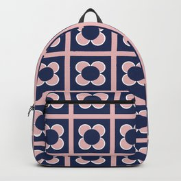 Scandi Flower Minimalist Mid Century Floral Pattern 2 in Pink, White, and Navy Blue Backpack