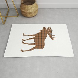 Plaid Moose: Brown Rug