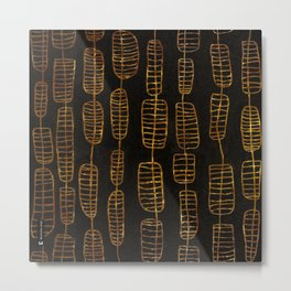 Oriental lanterns - Line art gold on black Metal Print