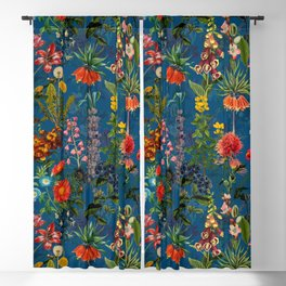 Vintage & Shabby Chic - Blue Midnight Spring Botancial Flower Garden Blackout Curtain